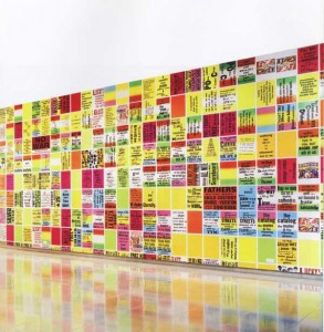 Allen Ruppersberg, The Singing Posters, 2003. Installation at Rice University Art Gallery, c. 2004 Hester and Hardaway. Photo by Paul Hester (detail)
