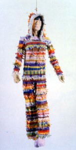 Meg Cranston, Magical Death, 2002. Papier mache with colored tissue, pastel, 188 x 50 x 41 cm