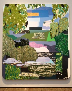 Mickalene Thomas, 'Vertical View of Jardin d'Eau,' rhinestones, acrylic, oil and enamel on wood panel, 2012.